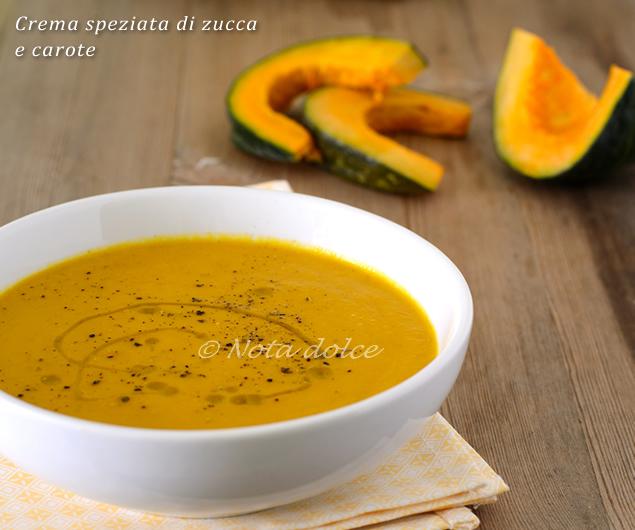 Crema speziata di zucca e carote ricetta facile