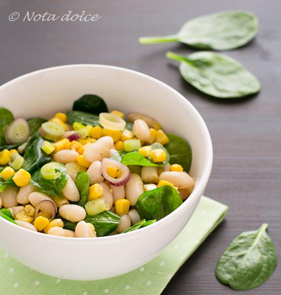Insalata di fagioli e spinacini ricetta facile