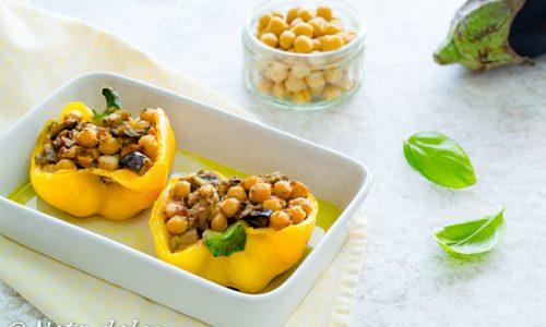 Peperoni ripieni di ceci e melanzane ricetta gustosa
