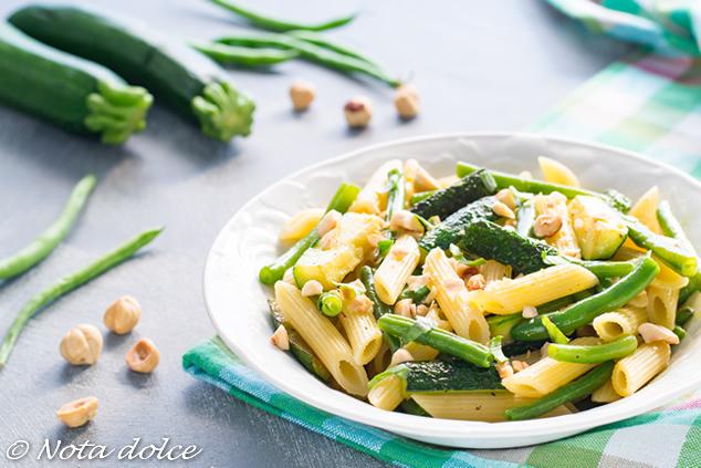 Penne con zucchine e fagiolini ricetta facile e gustosa
