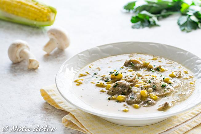 Zuppa di funghi e mais ricetta gustosa