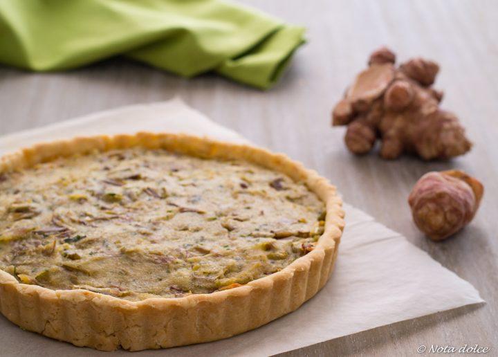 Torta salata con topinambur e carciofi ricetta