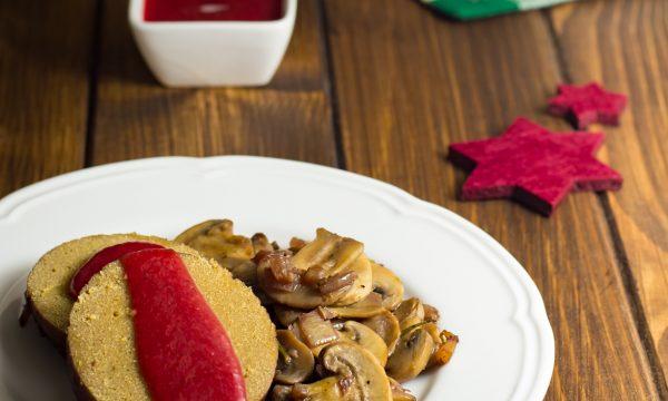 Arrosto di seitan con funghi e salsa di lamponi ricetta per le feste