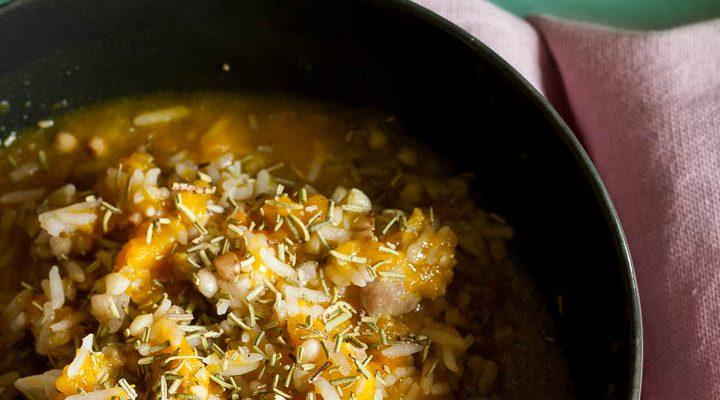 Zuppa di zucca, riso e grano saraceno