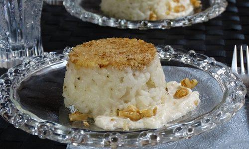 Tortini di riso con salsa al prosecco