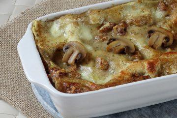 lasagne funghi e noci cremose