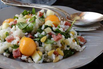 Insalata di riso pancetta e melone