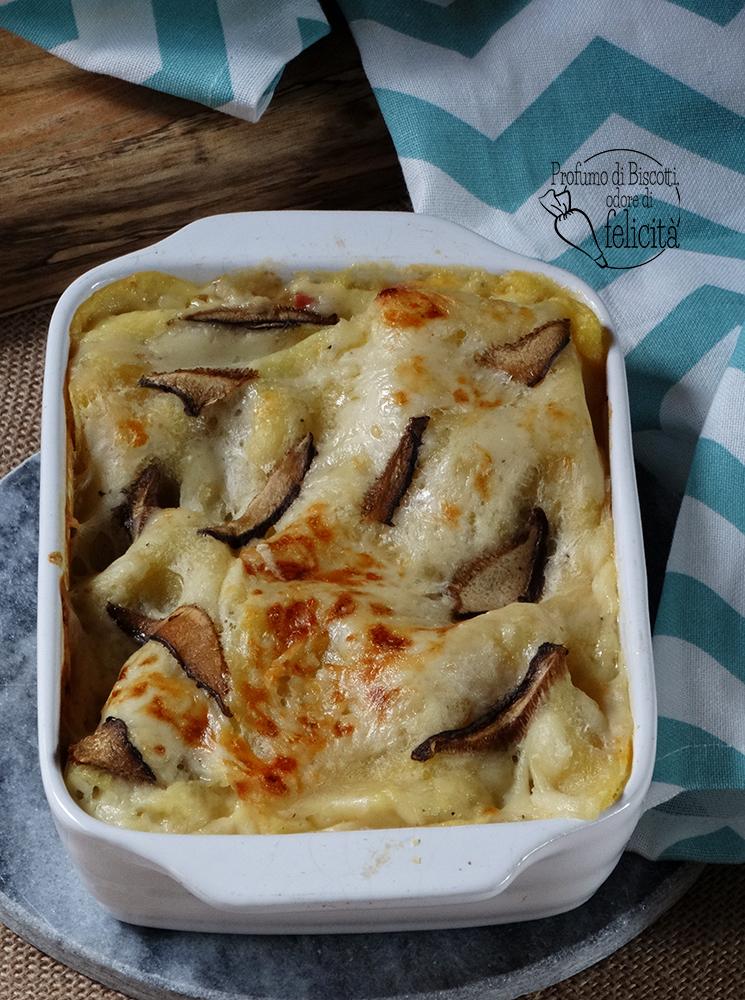 lasagne zucca e funghi con pancetta