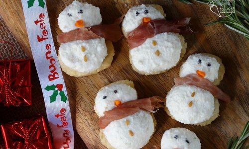 Salatini natalizi a forma di pupazzo di neve