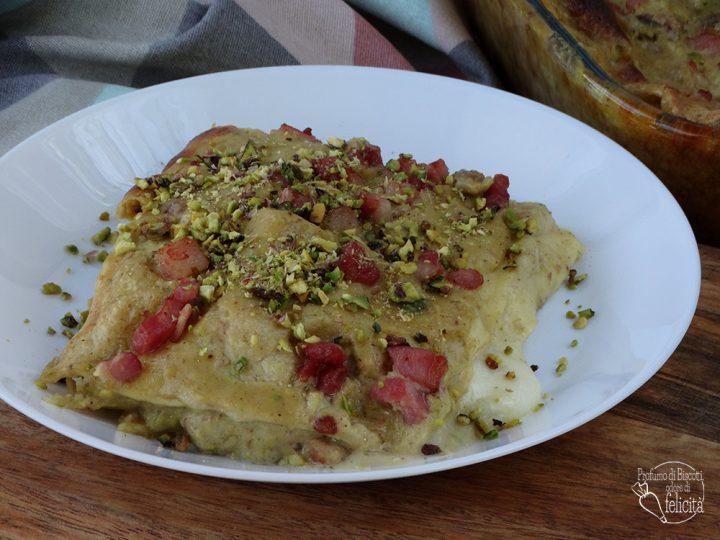 lasagne al pistacchio con pancetta o speck