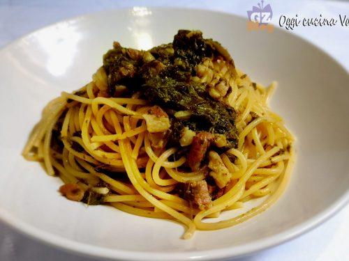 Spaghetti alle cime di rapa con pancetta