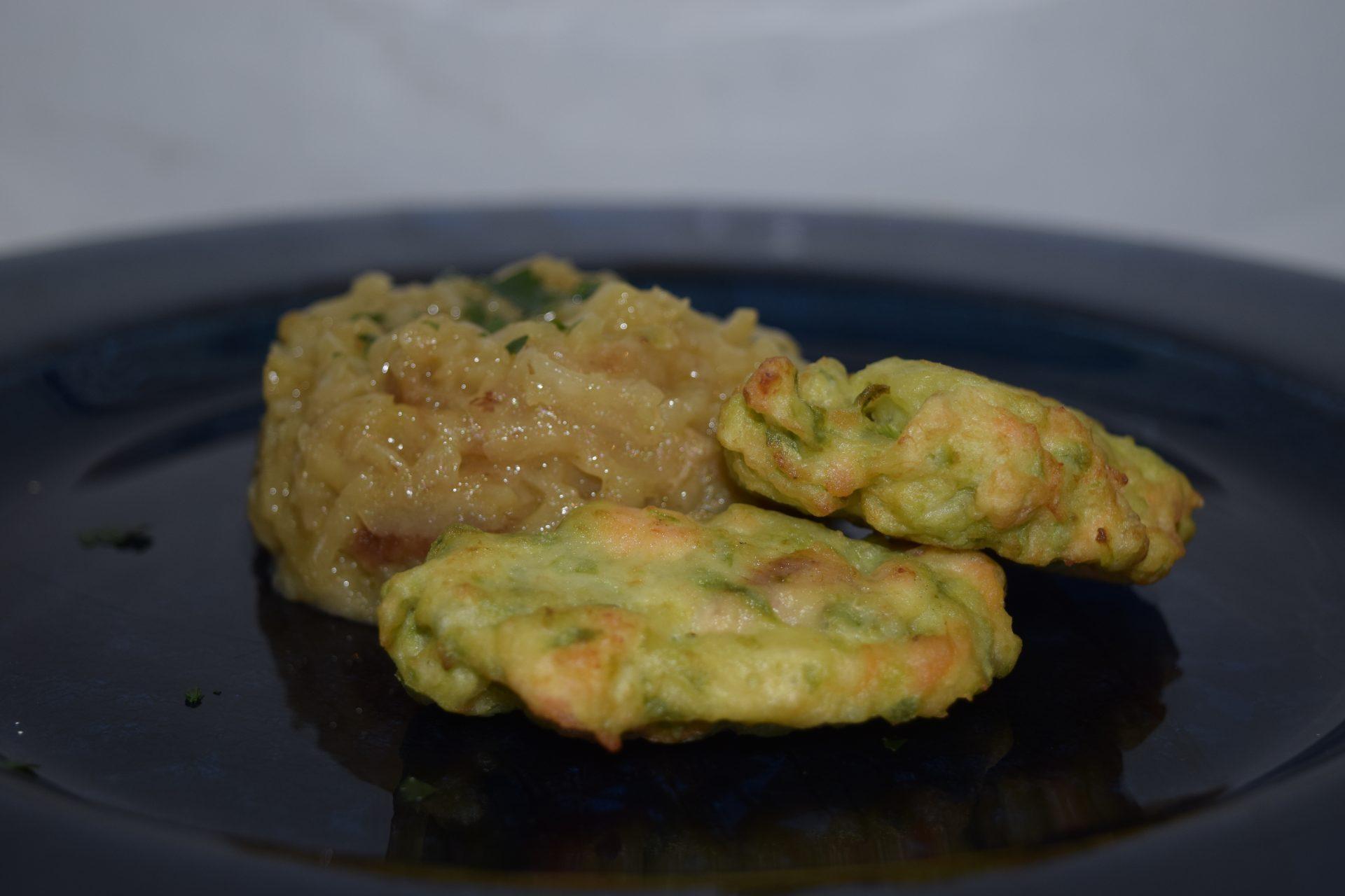 Frittelle Salmone e Zucchine con Tortino di Patate alla Vernaccia