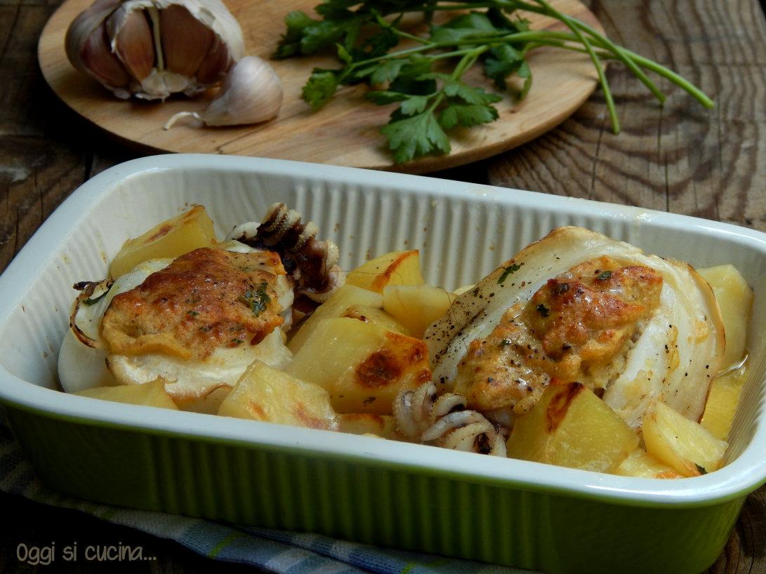 Seppie ripiene al forno con patate oggi si cucina for Cucinare seppie