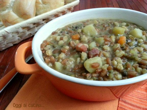 zuppa di farro e soia