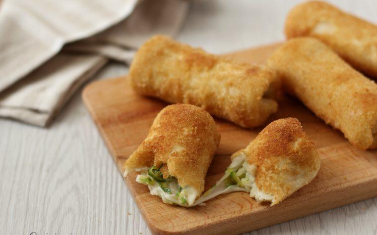 Rotolini di zucchine e formaggio in carrozza