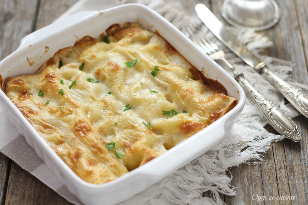 Cannelloni zucca funghi e gorgonzola