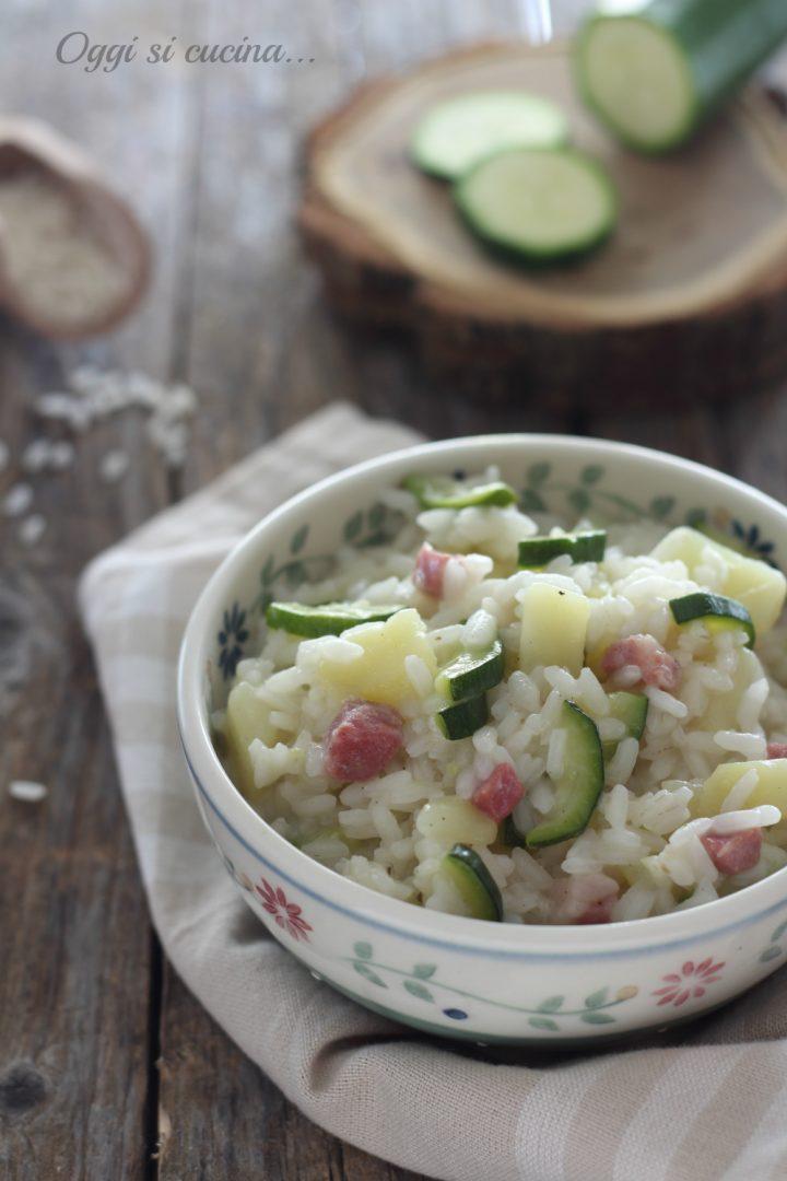 risotto patate zucchine e pancetta