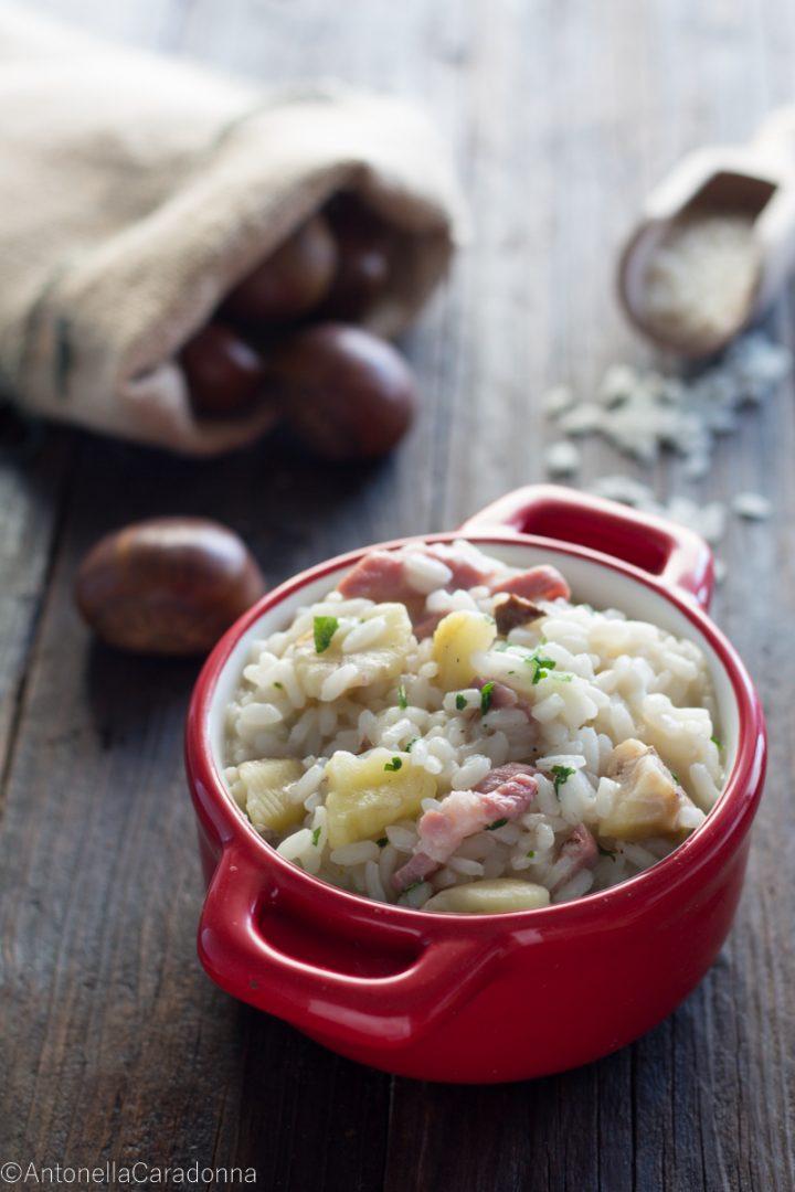 risotto castagne e pancetta