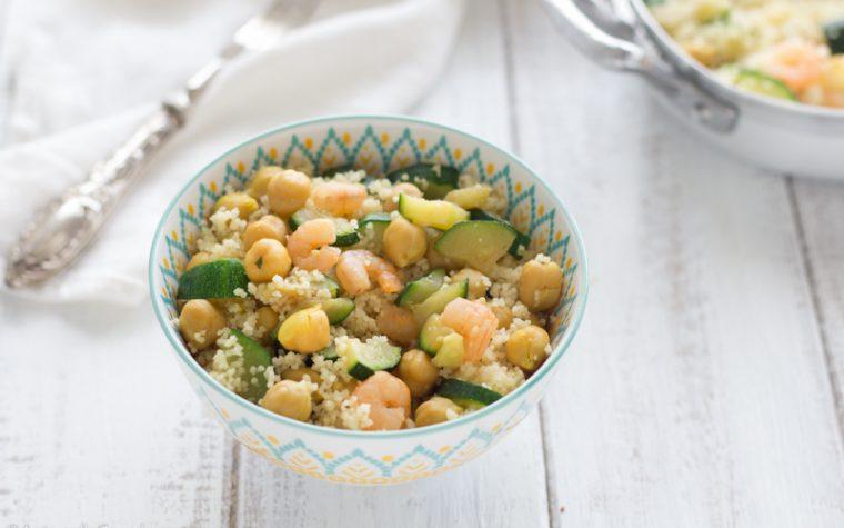 Cous cous con ceci gamberetti e zucchine