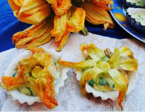 Crostatine salate ai fiori di zucca