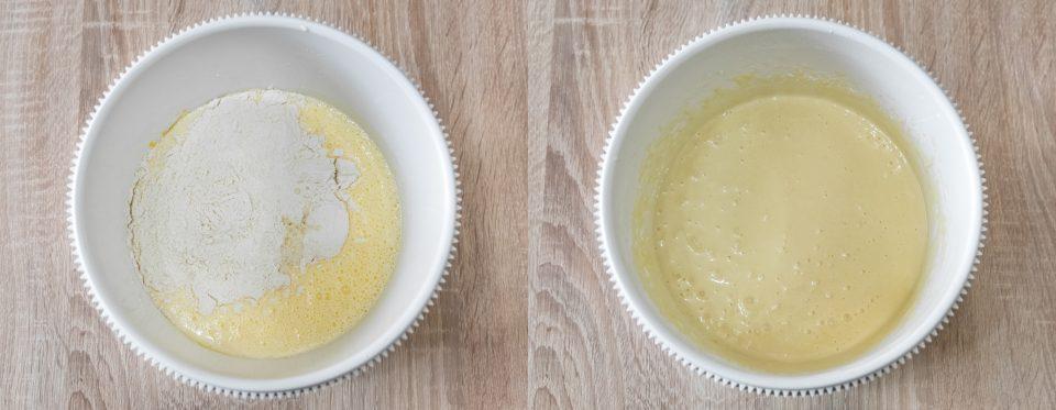 ingredienti nella ciotola e impasto pronto