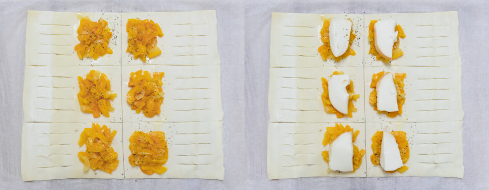 peperoni con origano e scamorza su sfoglia