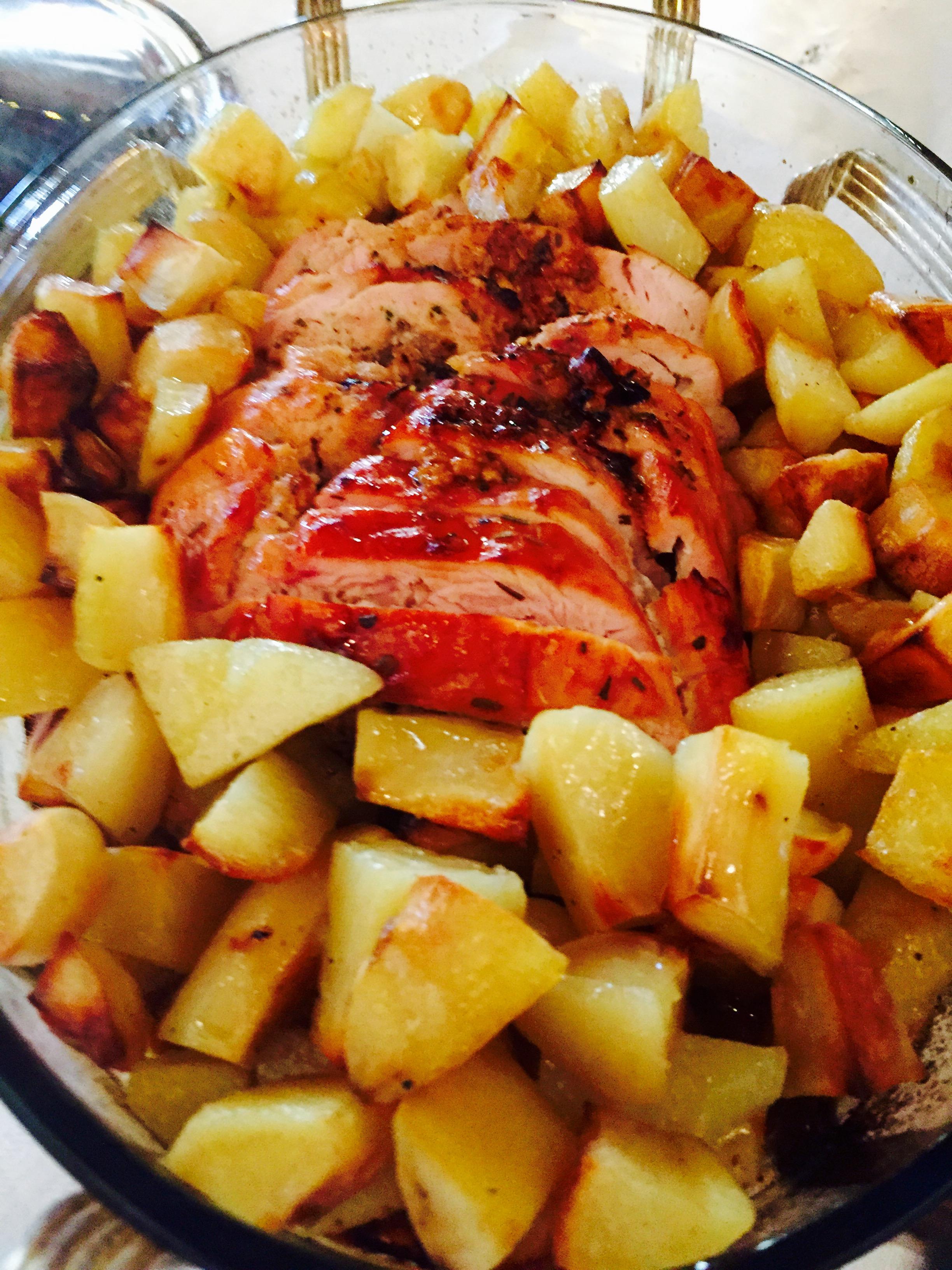 Tacchinella ripiena con patate al forno