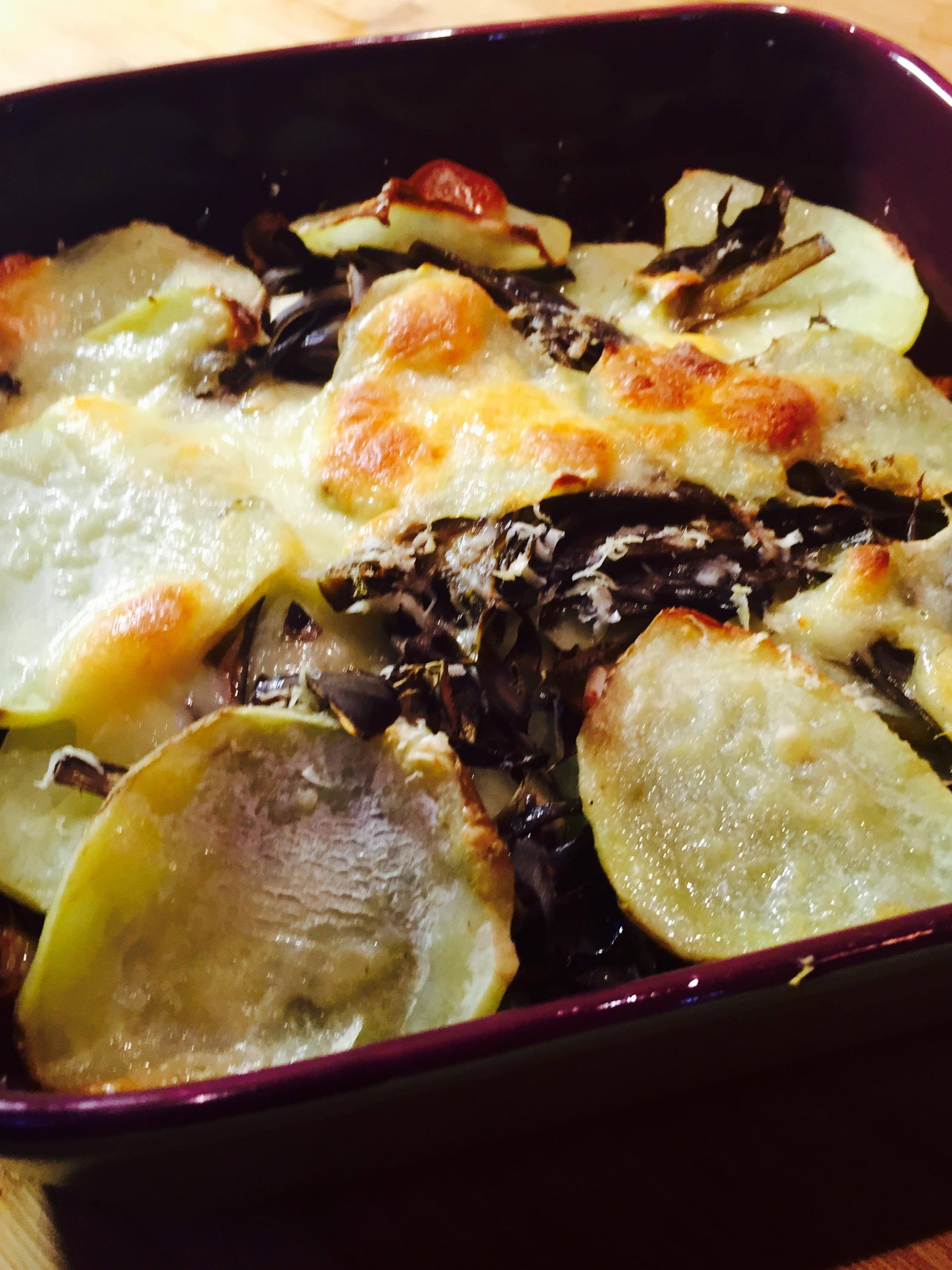 Gratin di carciofi patate e scamorza