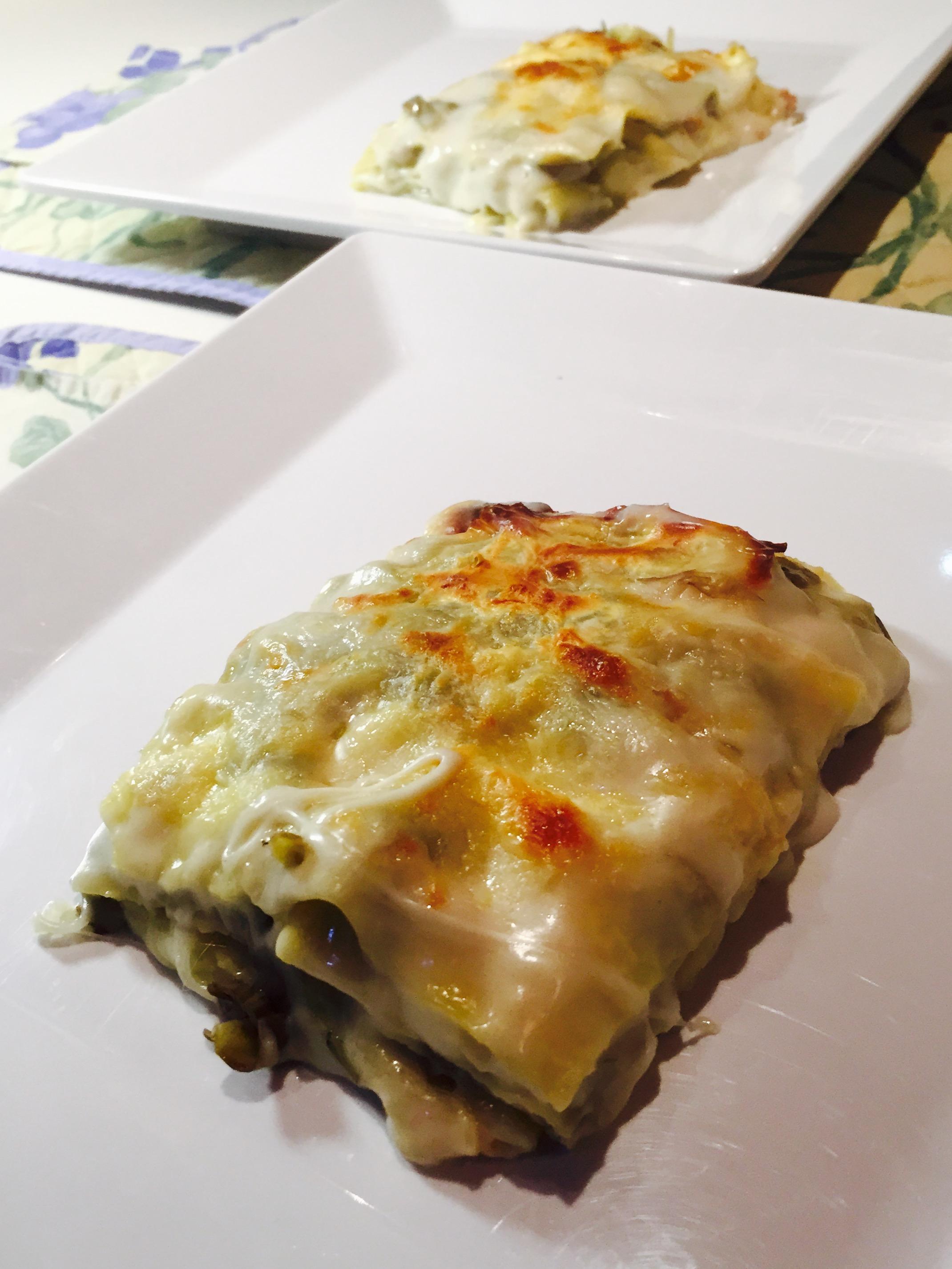 Lasagne bianche con carciofi e fontina