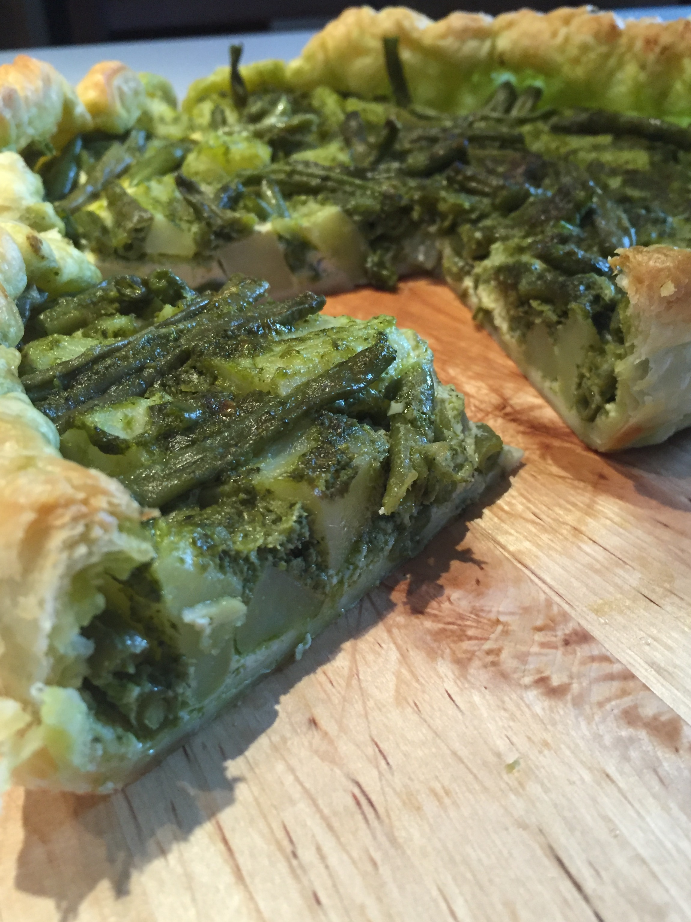 Quiche patate fagiolini  e pesto