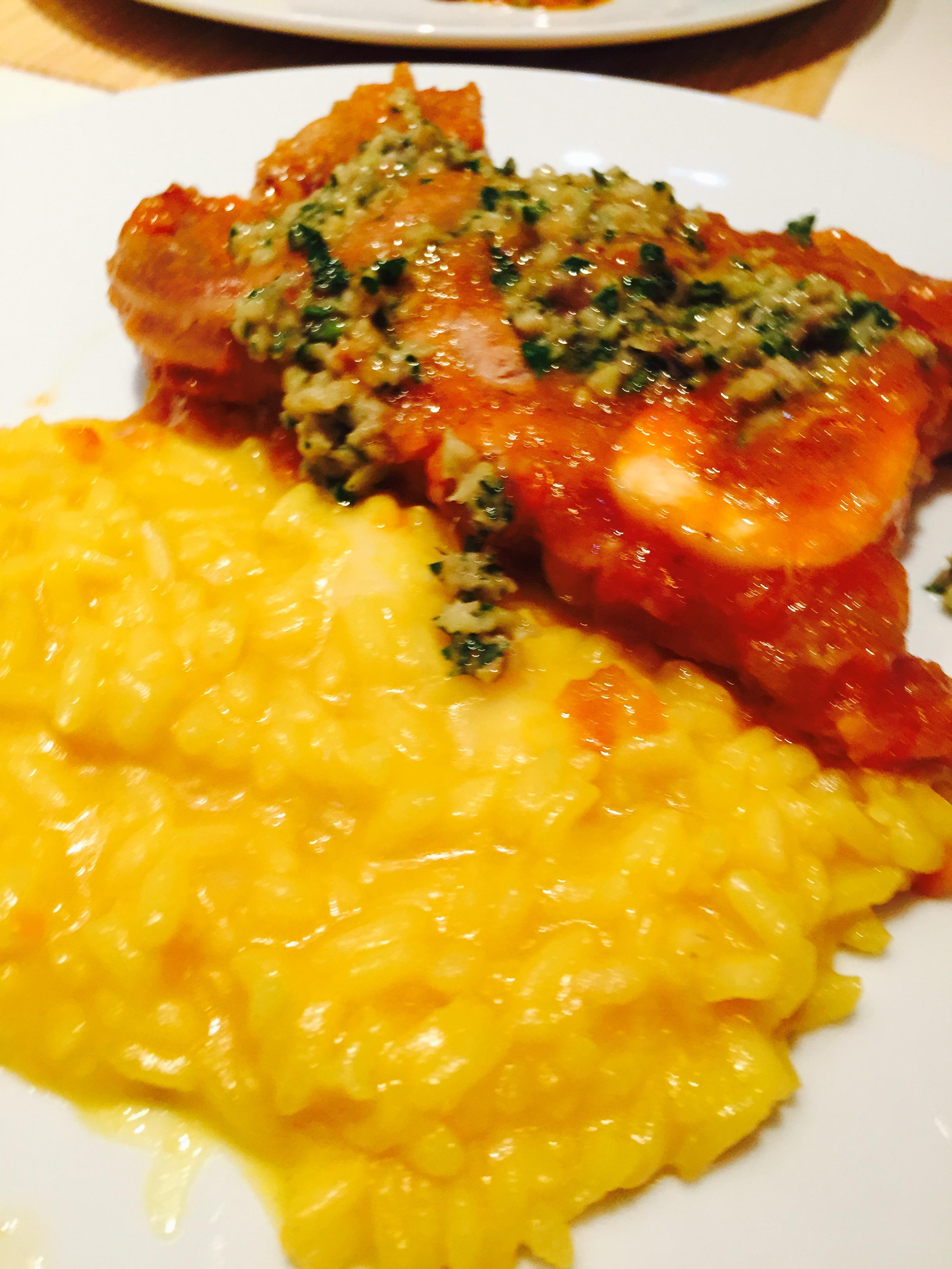 Ossobuco  in gremolada con risotto alla milanese