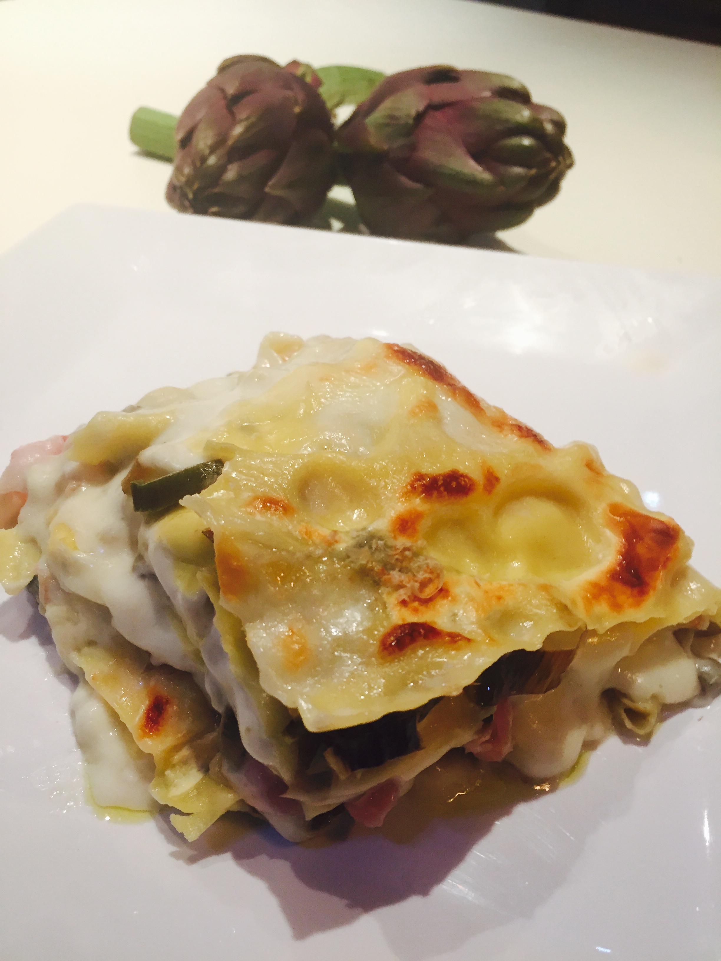 Lasagne ai carciofi pancetta