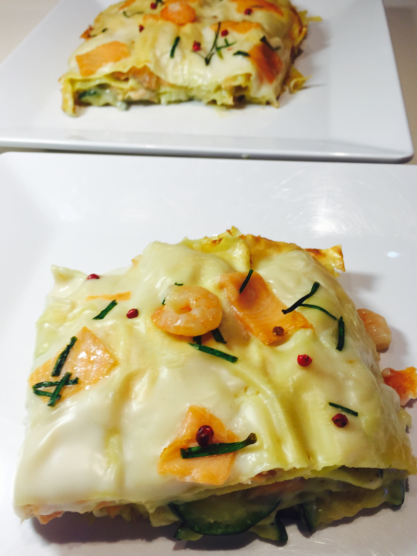 Lasagne salmone gamberetti e zucchine