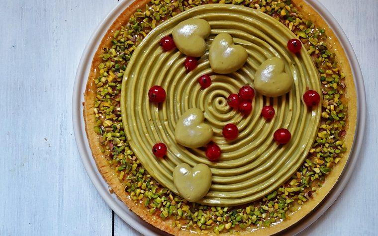Torta con crema frangipane al pistacchio