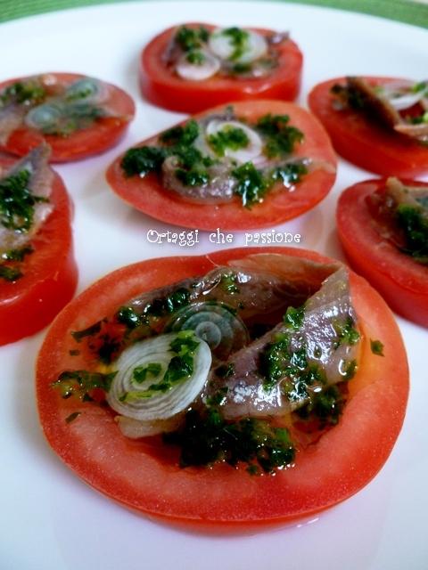 Pomodori e alici, antipasto sfizioso - Ortaggi che passione by Sara