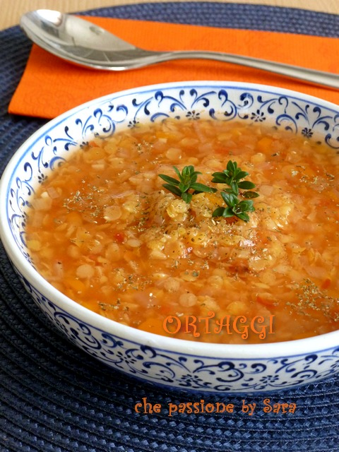 Zuppa di lenticchie rosse Ortaggi che passione by Sara