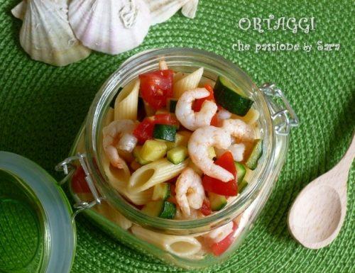 Pasta fredda gamberetti pomodori zucchine