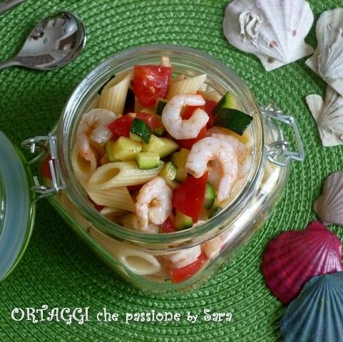 Pasta fredda gamberetti pomodori zucchine Ortaggi che passione by Sara Q