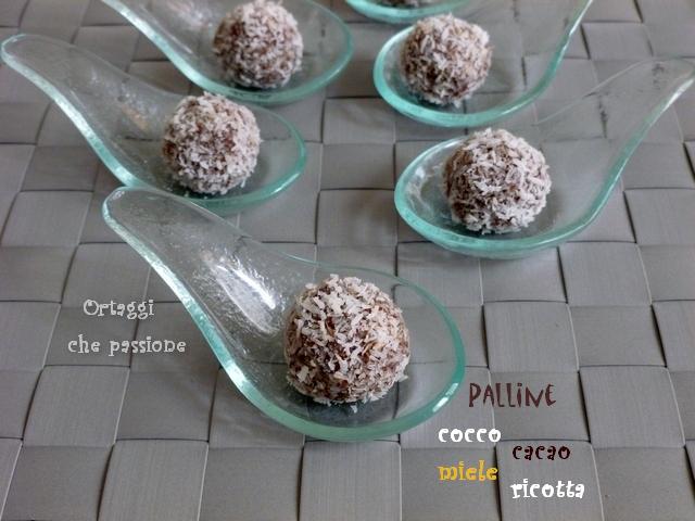 Palline cocco cacao ricotta e miele Ortaggi che passione by Sara