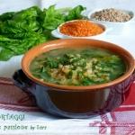 Zuppa cereali lenticchie e spinaci