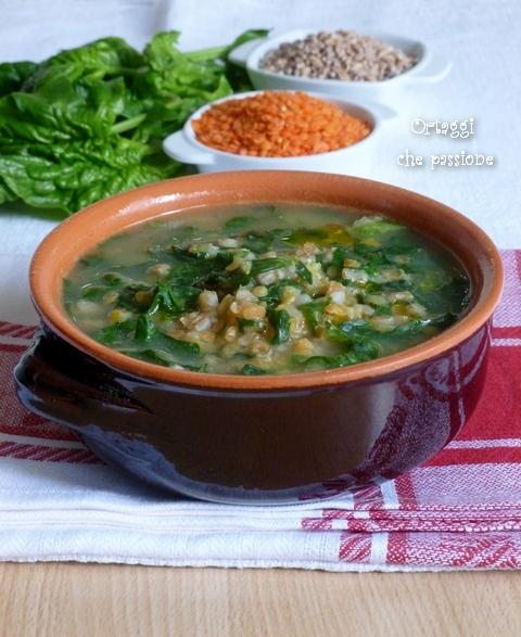 Zuppa cereali lenticchie e spinaci Ortaggi che passione by Sara