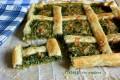Torta salata quadrata con erbe spontanee
