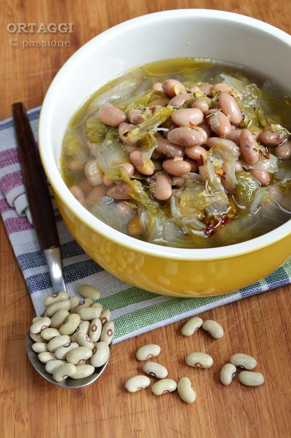Zuppa con fagioli verdòn e scarola, ricetta