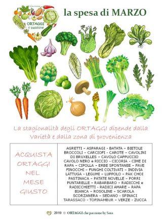 MARZO calendario verdura di stagione, ortaggi che passione by Sara Grissino