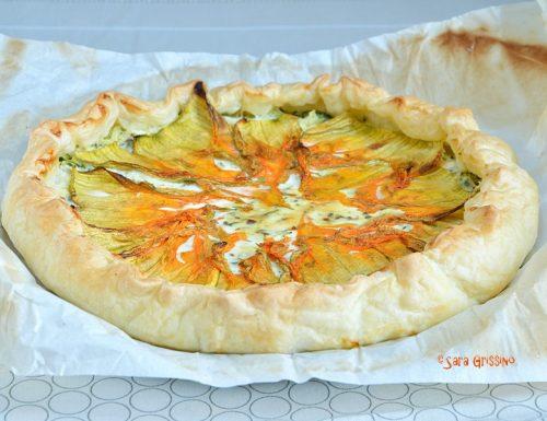 Torta salata con fiori di zucca e stracchino
