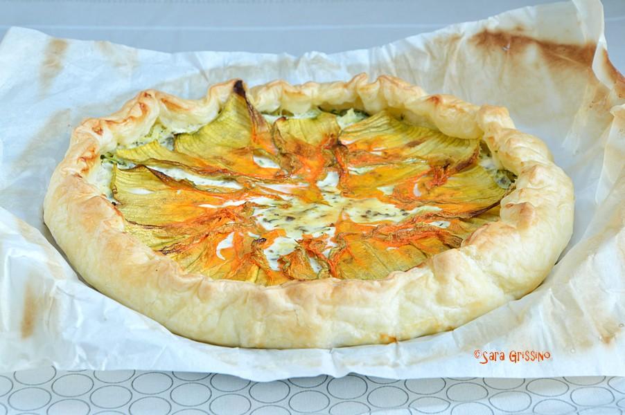 Torta salata con fiori di zucca e stracchino ORTAGGI di STAGIONE