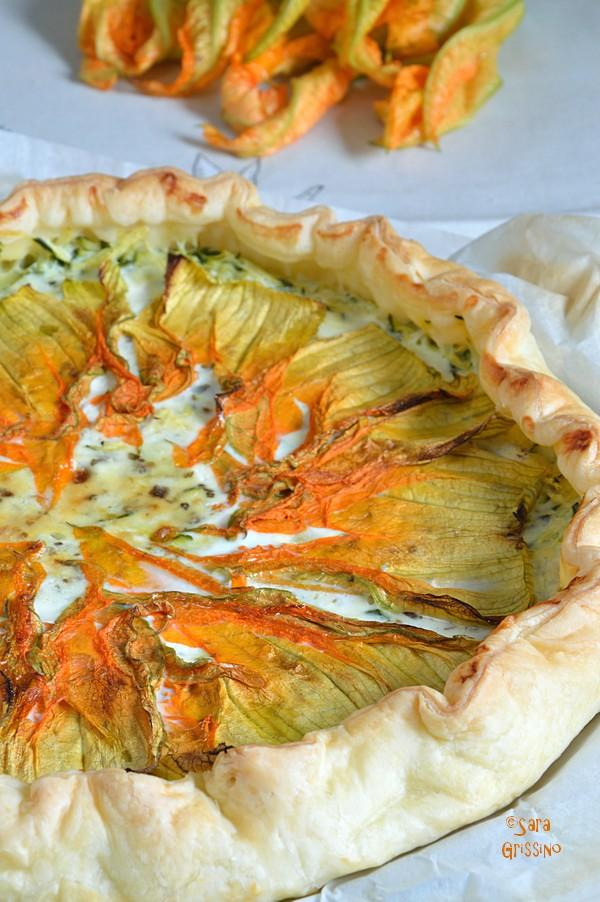 Torta salata con fiori di zucca e stracchino SARA GRISSINO