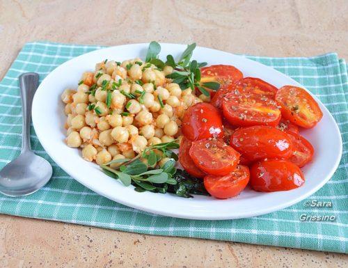 Insalata di ceci con pomodorini, piatto unico vegano