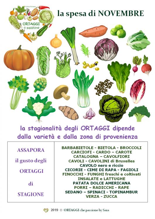 mese Novembre verdura di stagione ORTAGGI che passione Sara Grissino