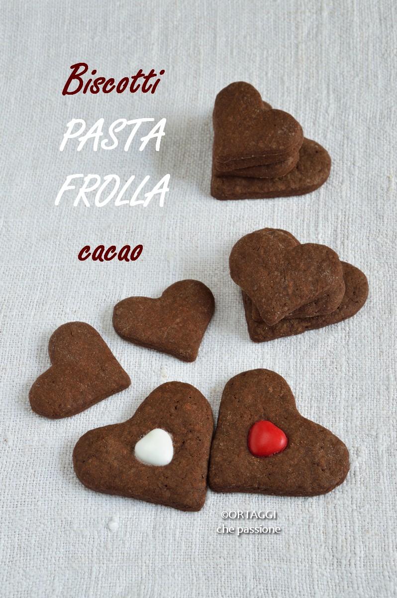 biscotti pasta frolla al cacao - dolce facile per san valentino